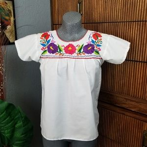 Tops - Embroidered Blouse White Size